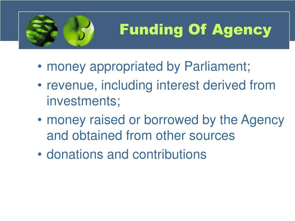 Funding Of Agency