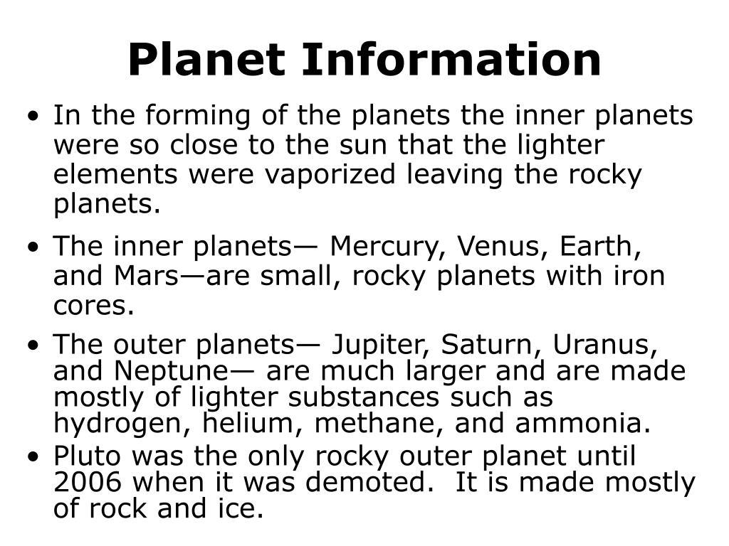 Planet Information