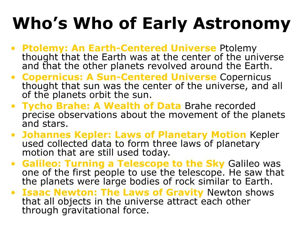 Who's Who of Early Astronomy
