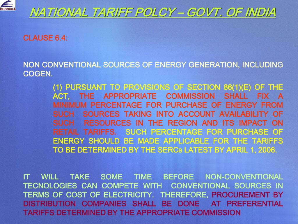 NATIONAL TARIFF POLCY – GOVT. OF INDIA