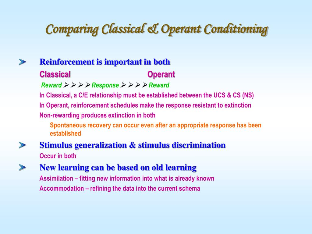 Comparing Classical & Operant Conditioning