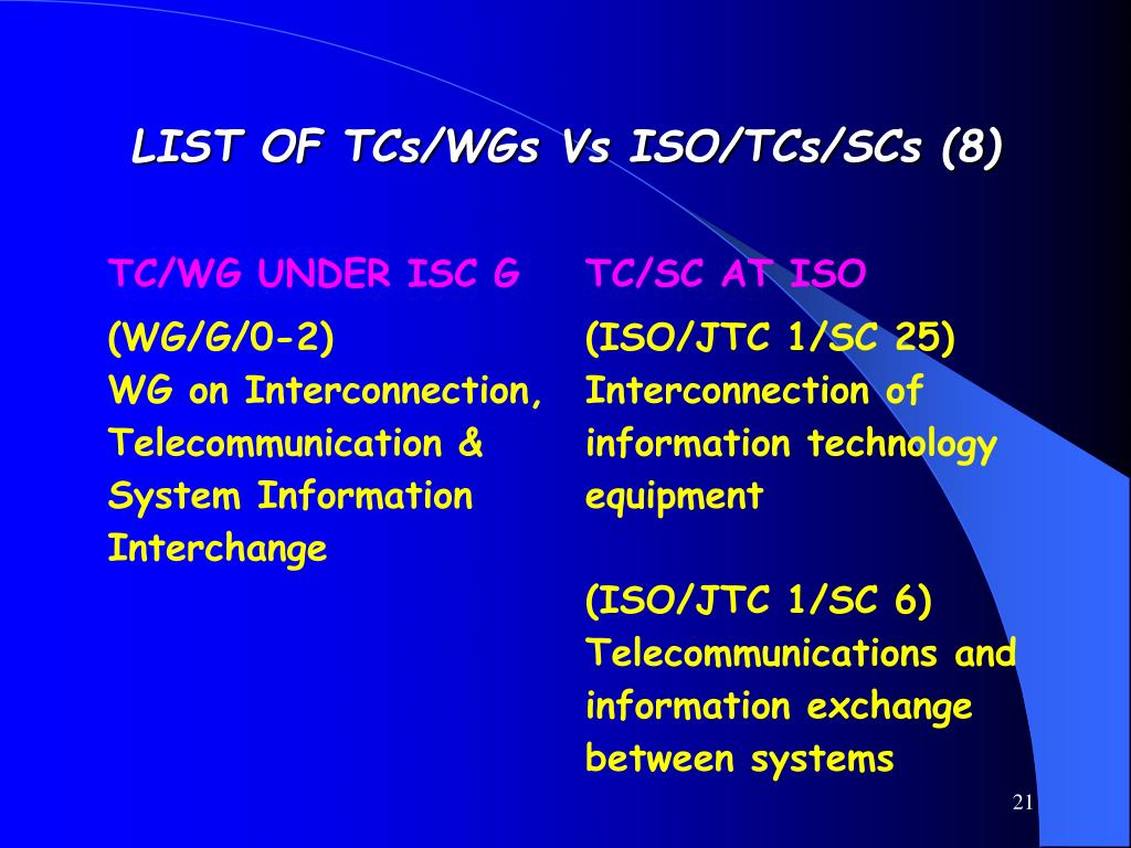 LIST OF TCs/WGs Vs ISO/TCs/SCs (8)