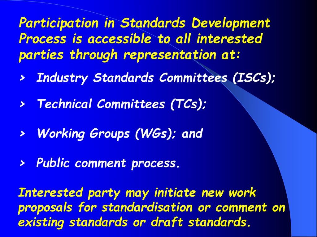 Participation in Standards Development