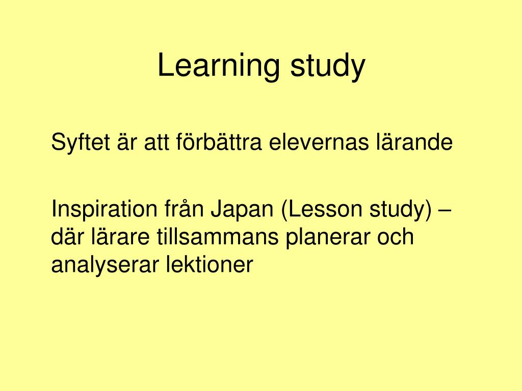 Learning study