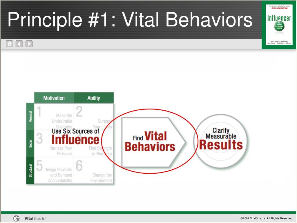 Principle #1: Vital Behaviors