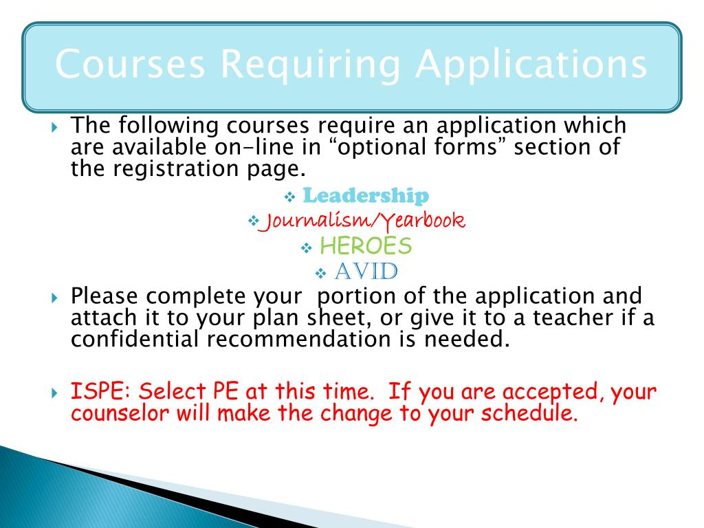 Courses Requiring Application
