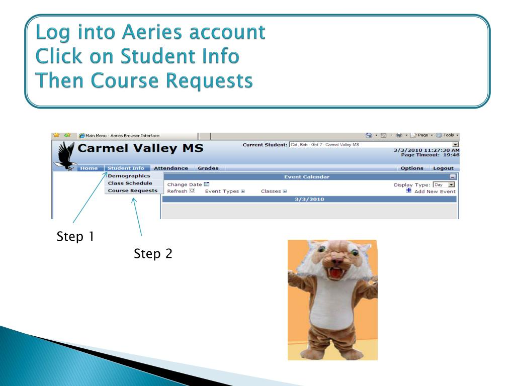 Log into Aeries account