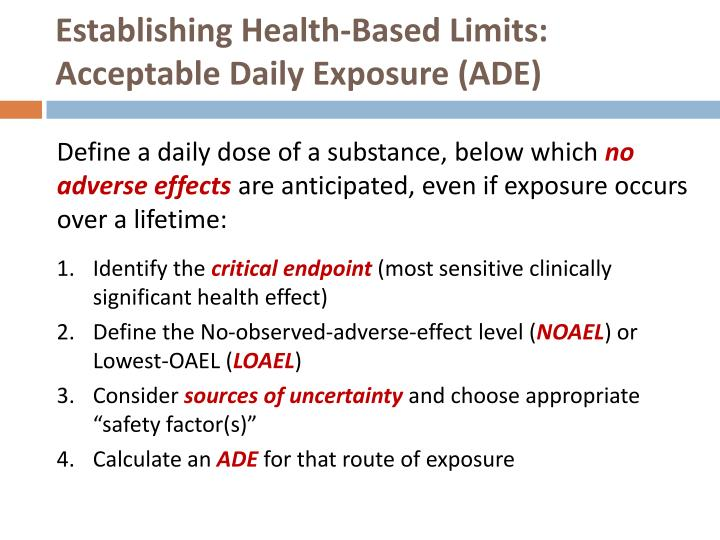 Establishing Health-Based Limits: