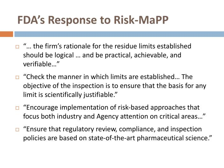 FDA's Response to Risk-MaPP