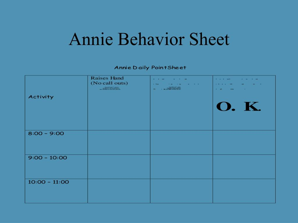 Annie Behavior Sheet