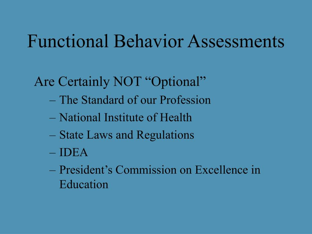 Functional Behavior Assessments