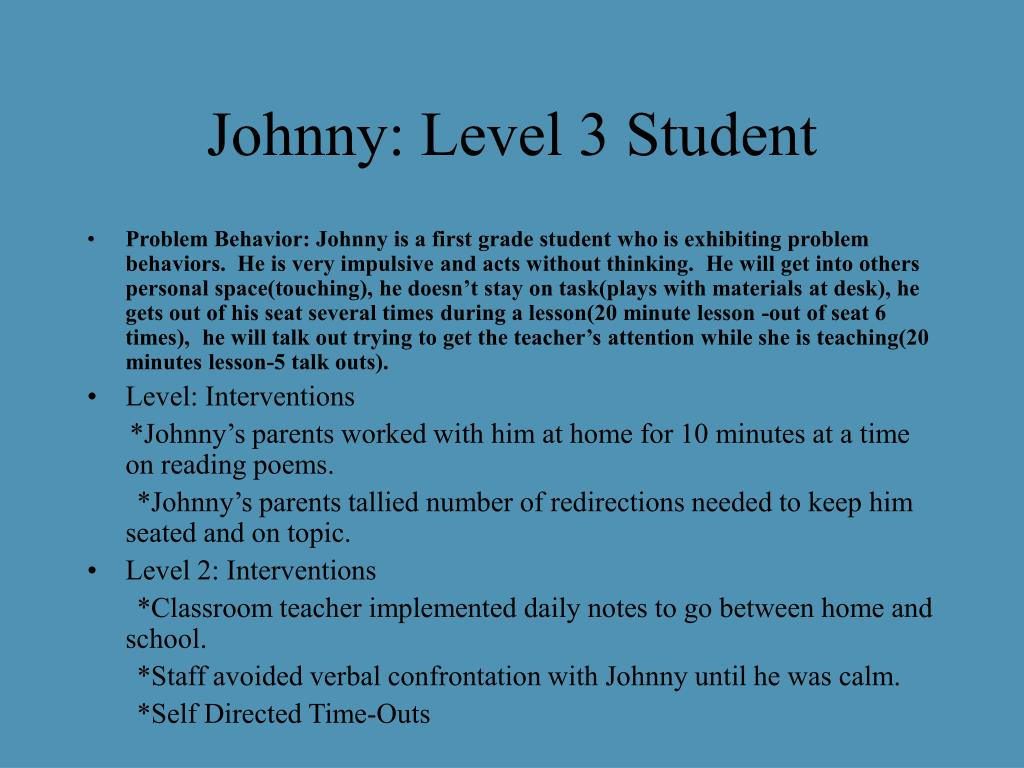 Johnny: Level 3 Student