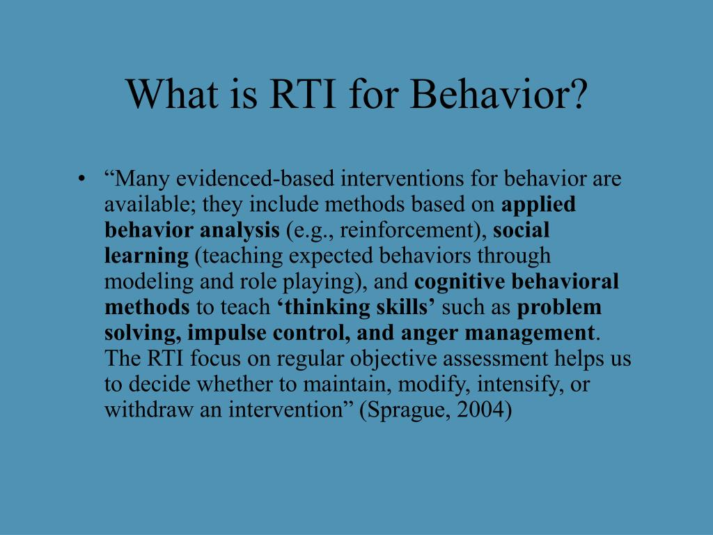What is RTI for Behavior?