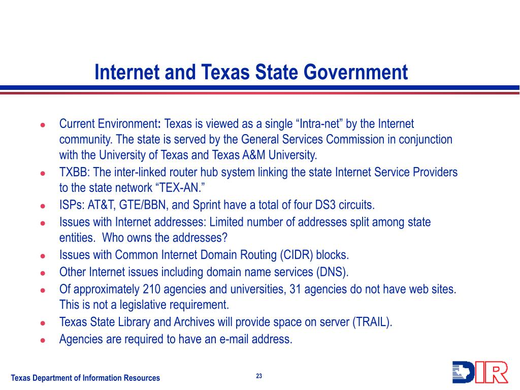 Internet and Texas State Government