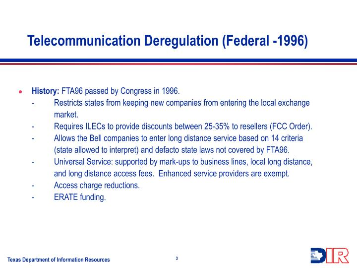 Telecommunication deregulation federal 1996