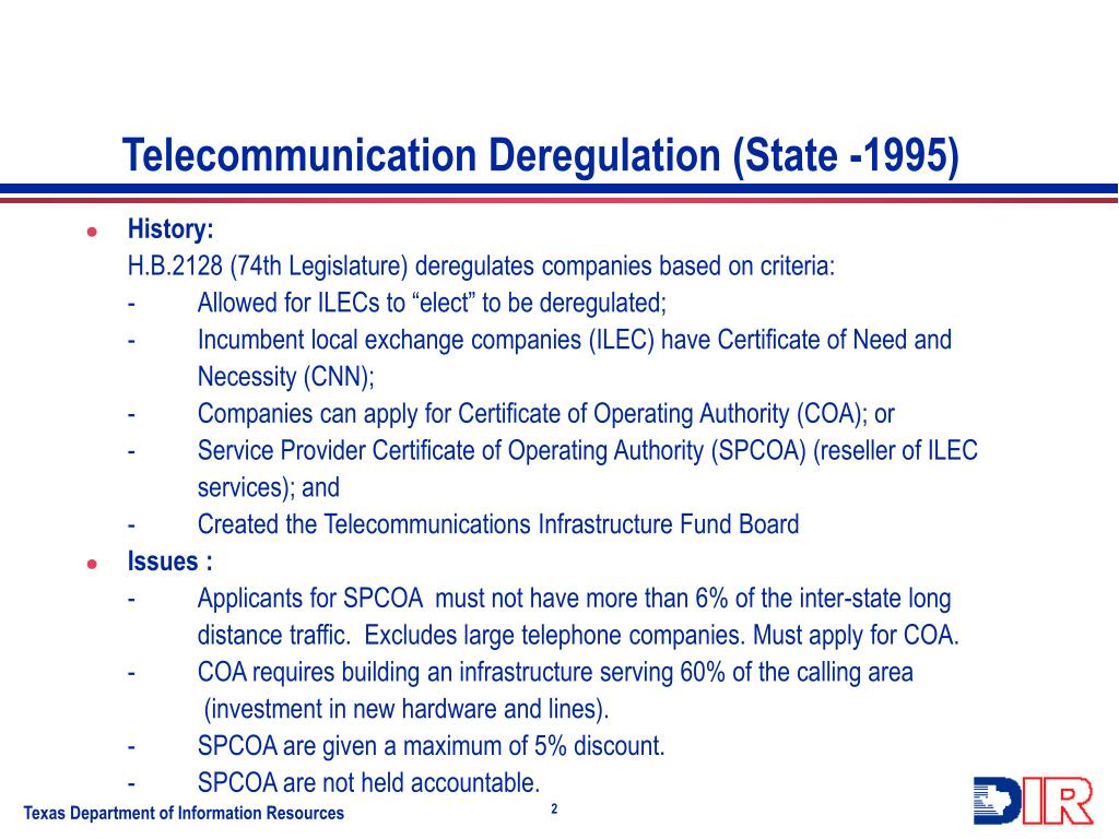Telecommunication Deregulation (State -1995)