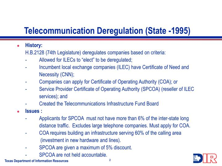 Telecommunication deregulation state 1995