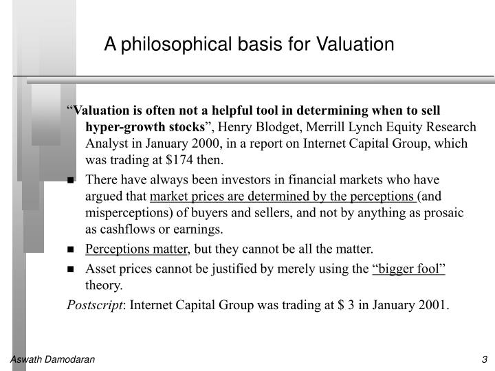 A philosophical basis for Valuation