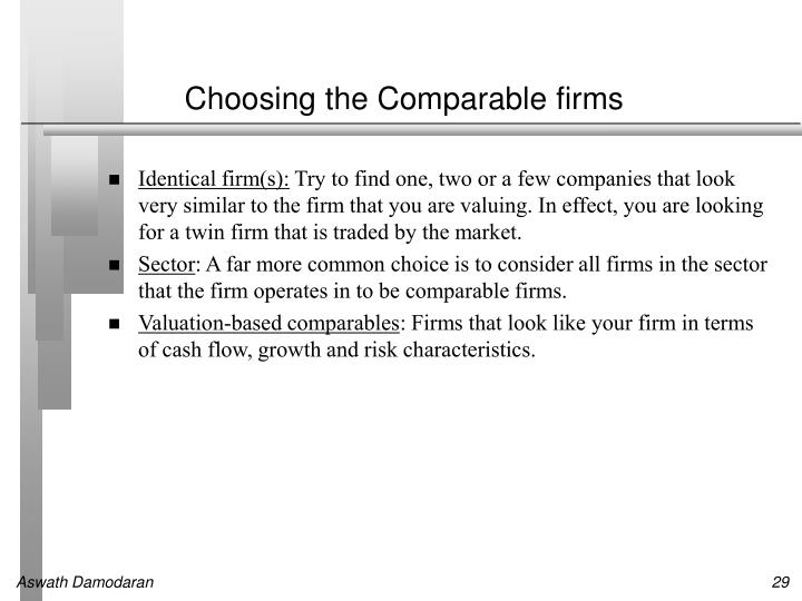 Choosing the Comparable firms