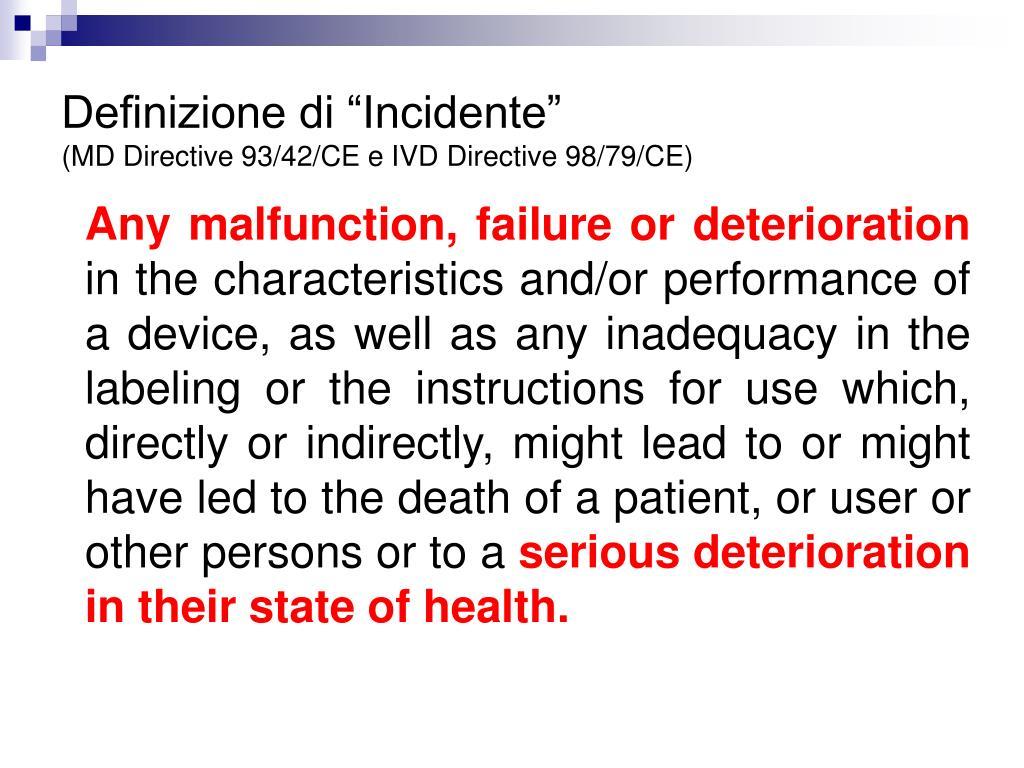"""Definizione di """"Incidente"""""""