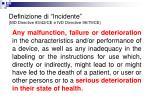 definizione di incidente md directive 93 42 ce e ivd directive 98 79 ce