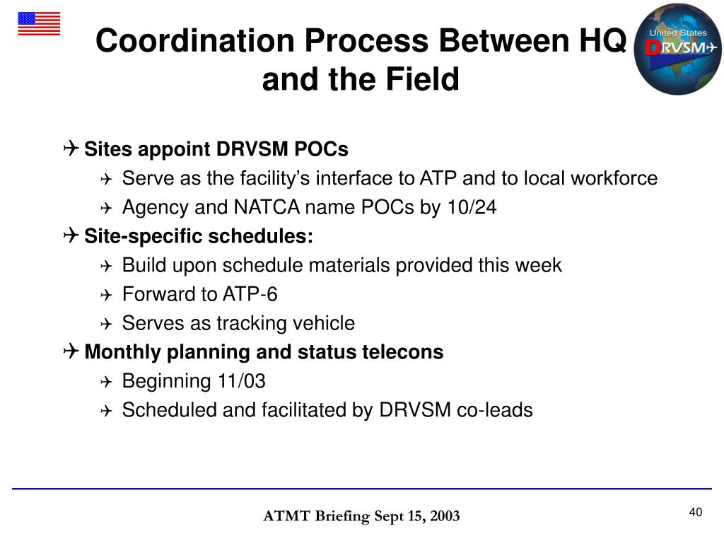 Coordination Process Between HQ and the Field