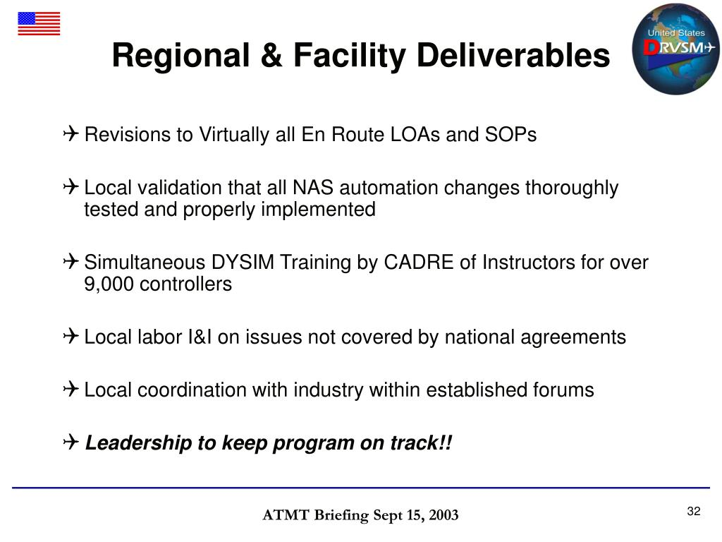 Regional & Facility Deliverables