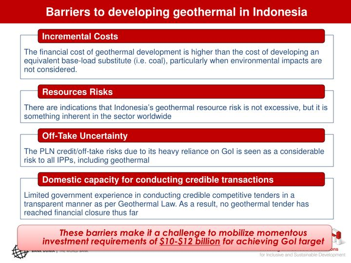 Barriers to developing geothermal in Indonesia