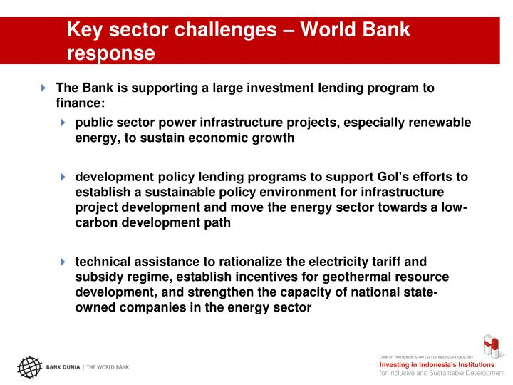 Key sector challenges – World Bank response