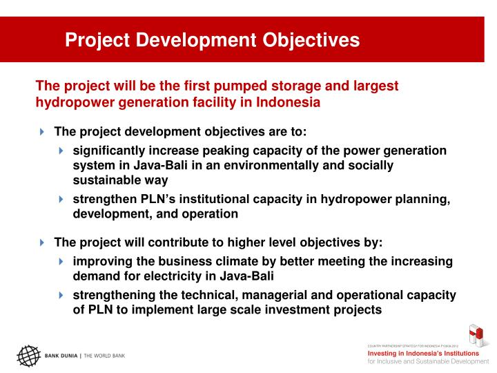 Project Development Objectives