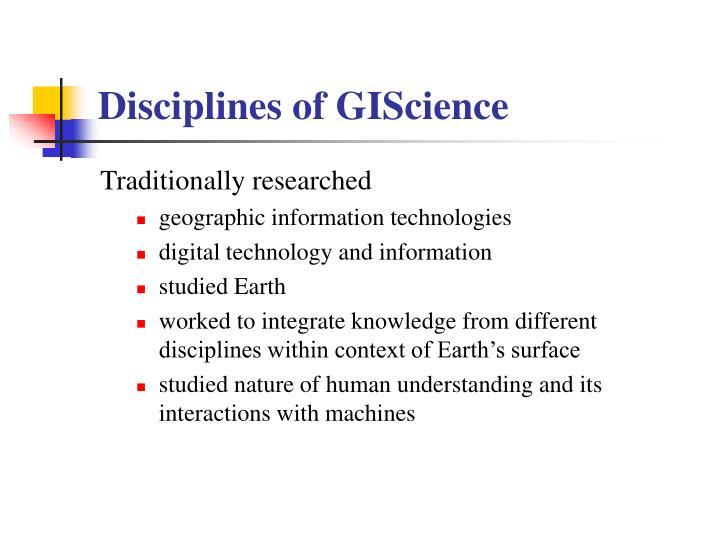 Disciplines of GIScience