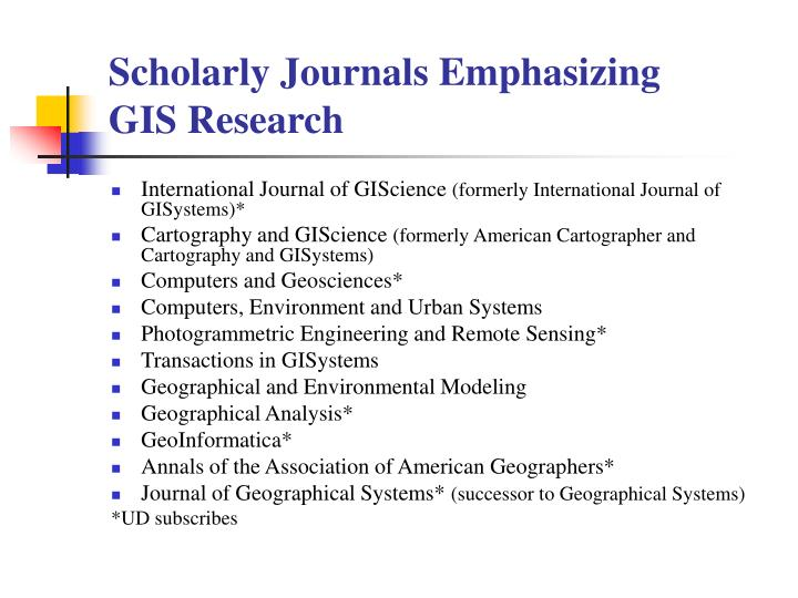 Scholarly Journals Emphasizing