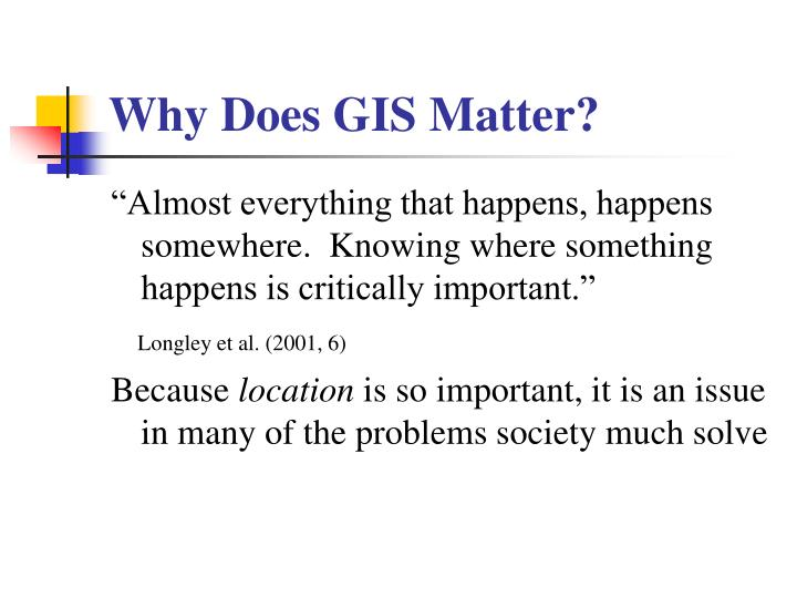 Why Does GIS Matter?