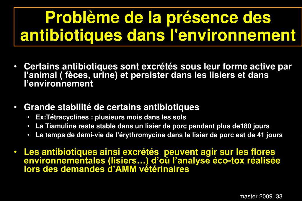 Problème de la présence des antibiotiques dans l'environnement