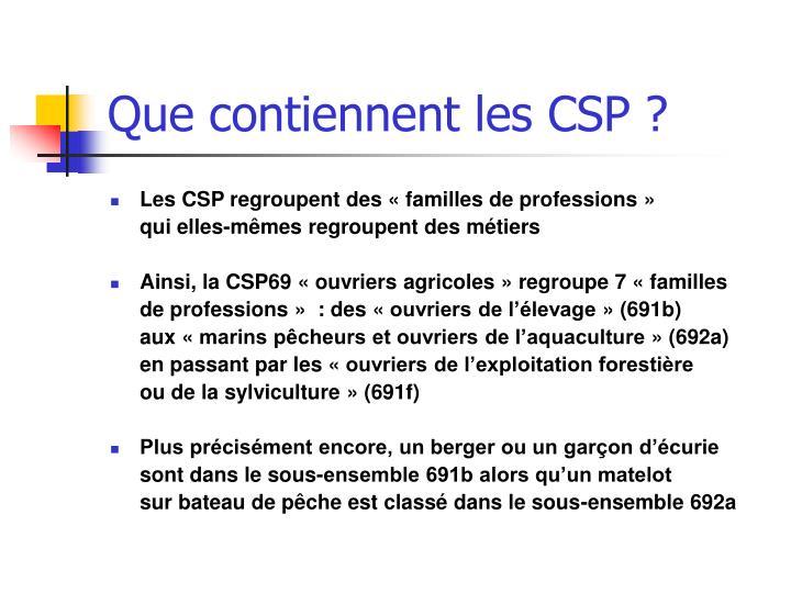 Que contiennent les CSP ?