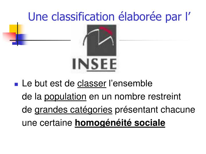Une classification labor e par l