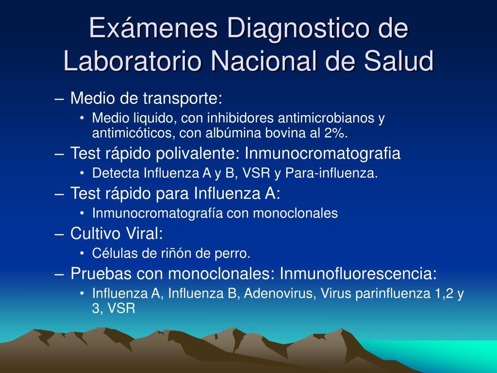Exámenes Diagnostico de  Laboratorio Nacional de Salud