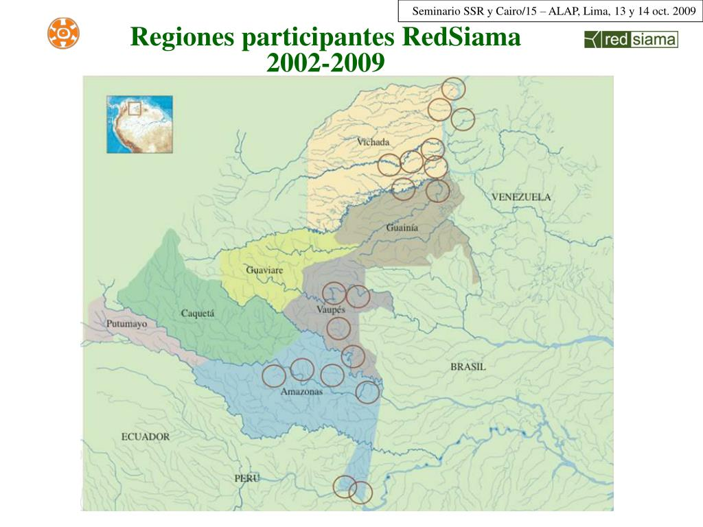 Regiones participantes RedSiama 2002-2009