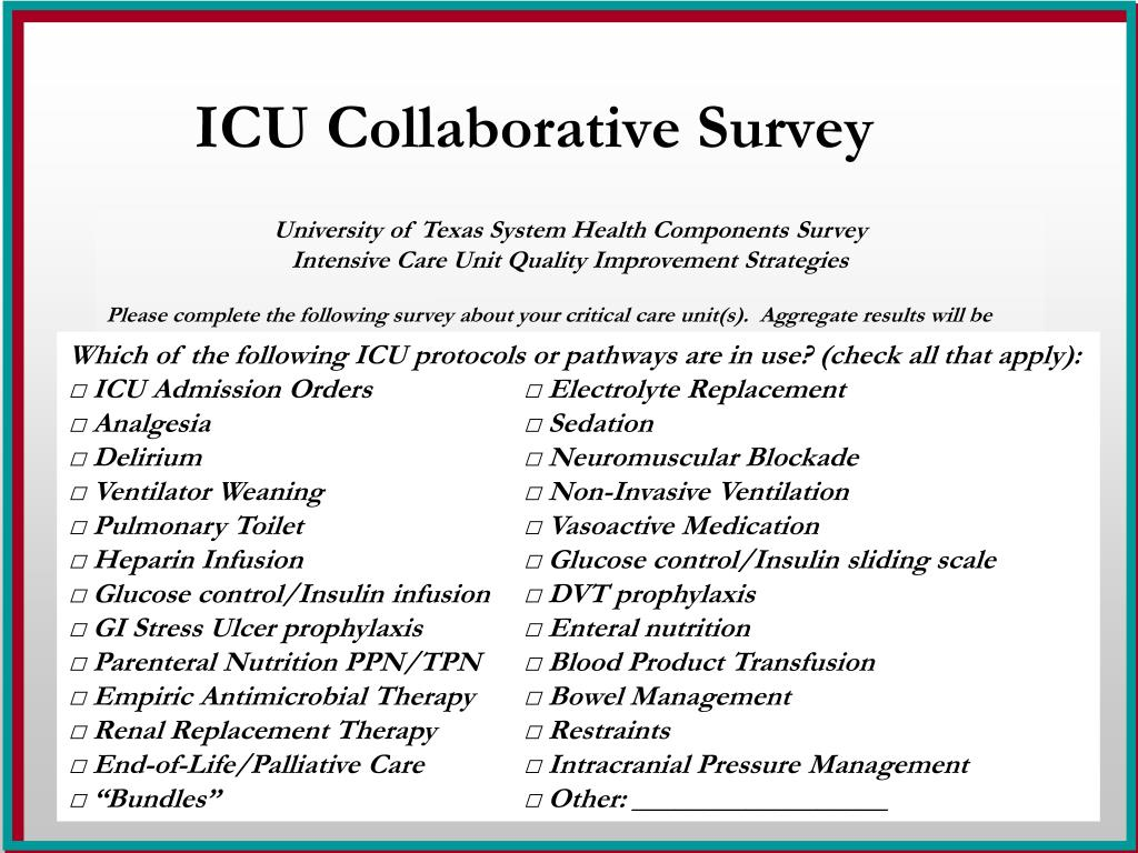 ICU Collaborative Survey