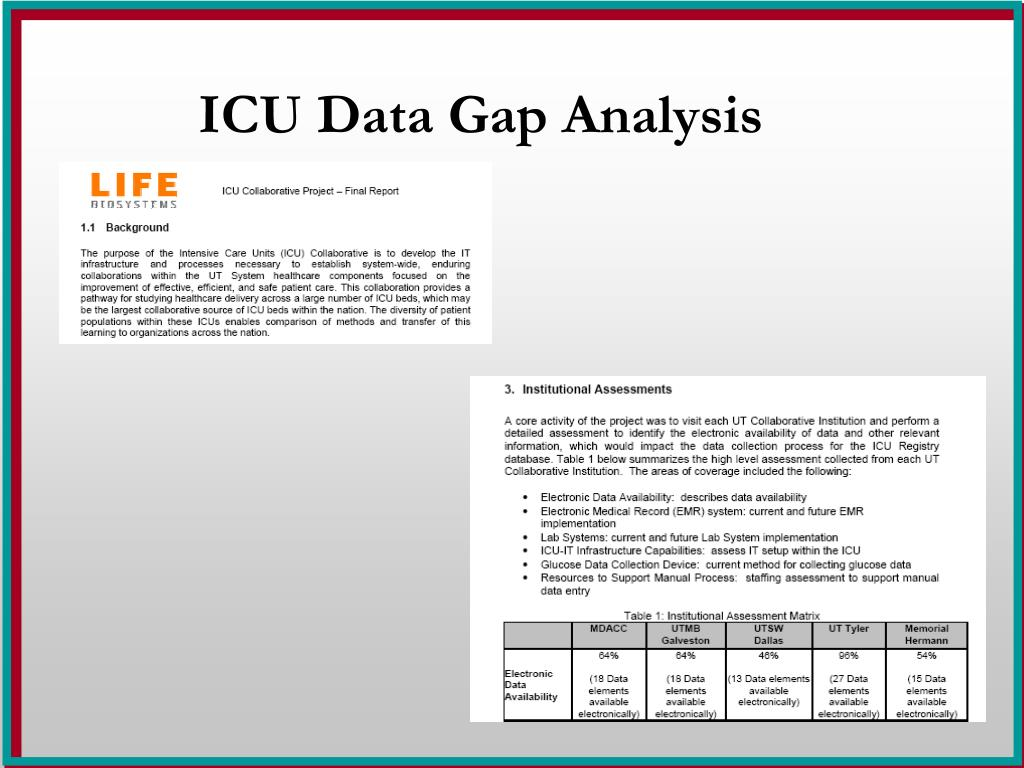 ICU Data Gap Analysis