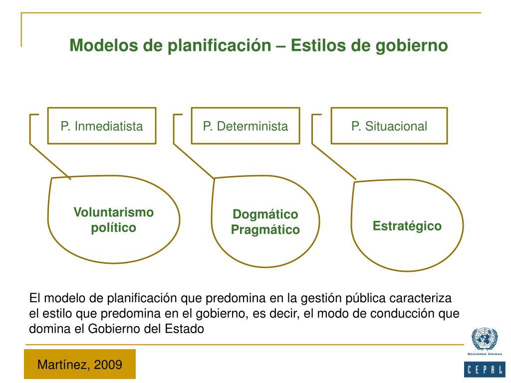 Modelos de planificación – Estilos de gobierno
