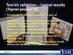 test kit validation typical results tepnel peanut kit