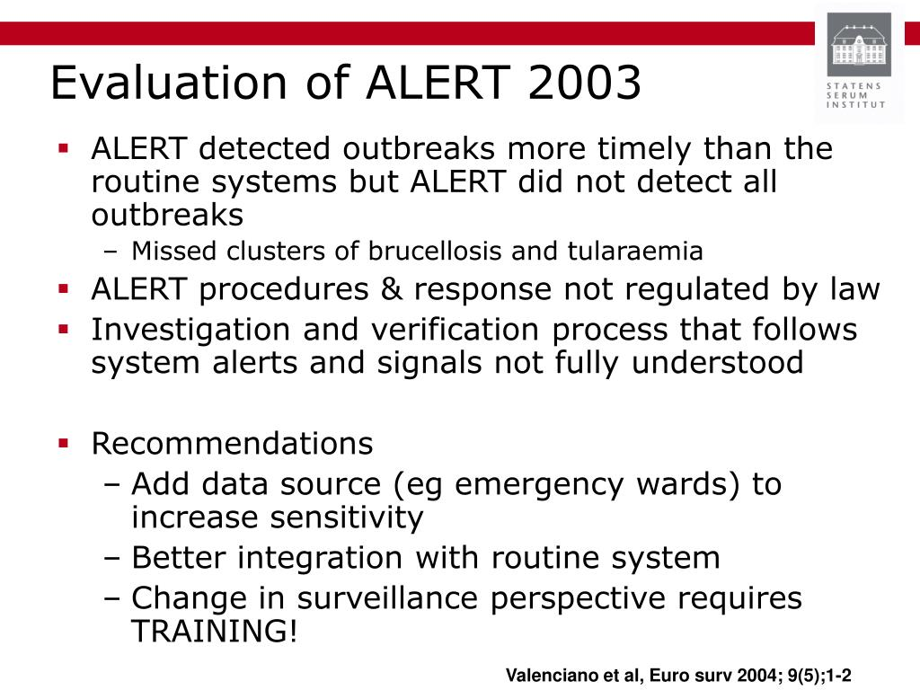 Evaluation of ALERT 2003