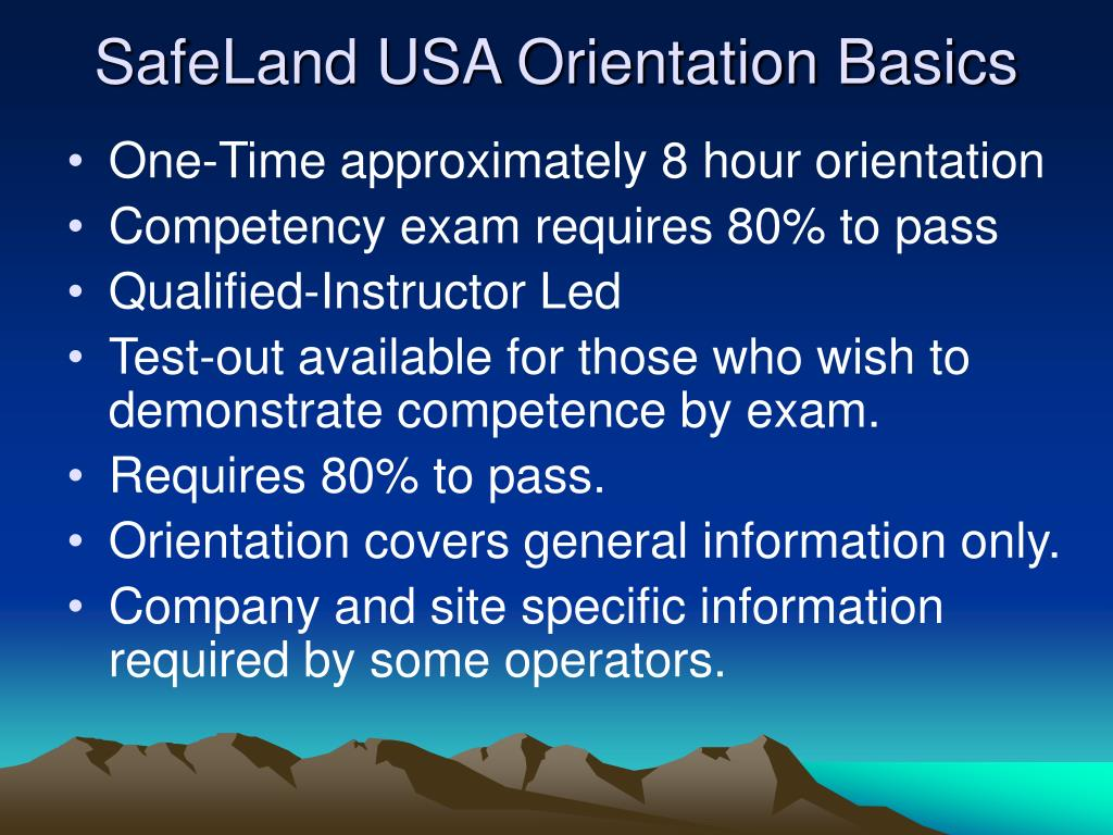 SafeLand USA Orientation Basics