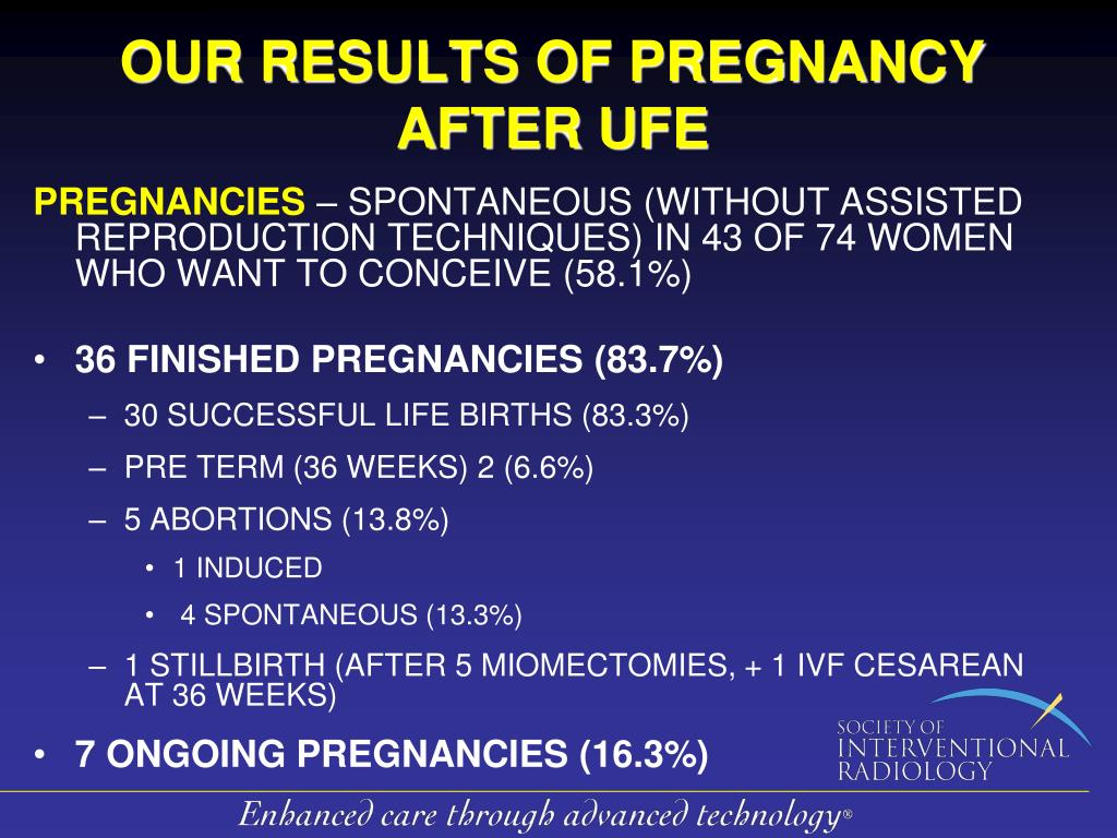 OUR RESULTS OF PREGNANCY AFTER UFE