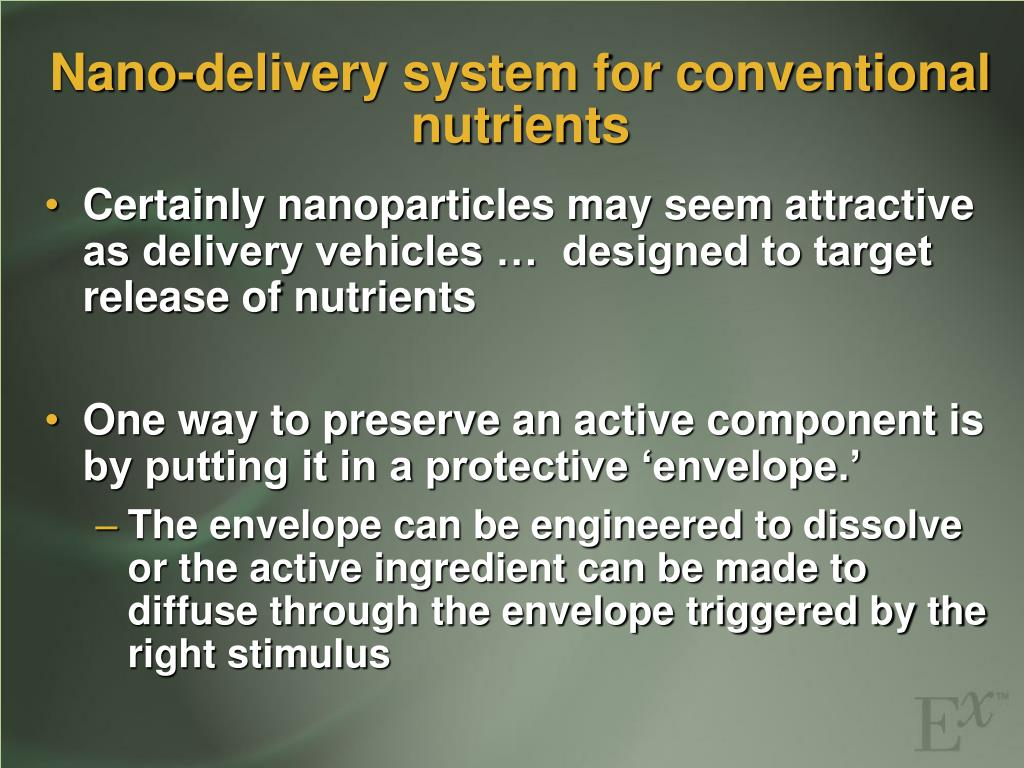 Nano-delivery system for conventional nutrients