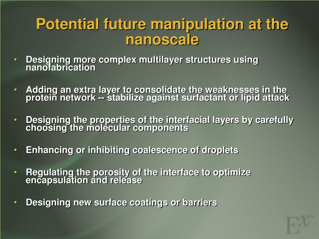 Potential future manipulation at the nanoscale