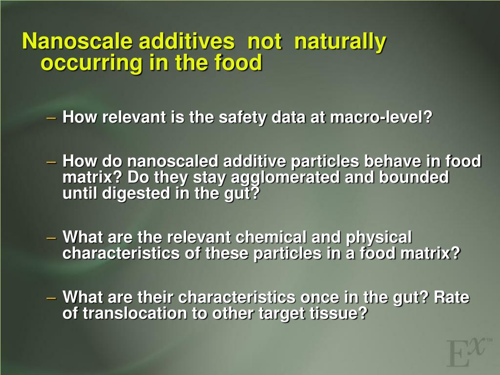 Nanoscale additives  not  naturally occurring in the food