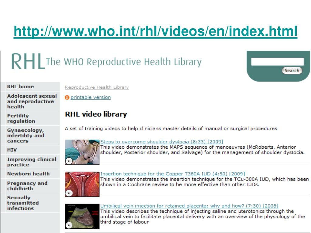 http://www.who.int/rhl/videos/en/index.html