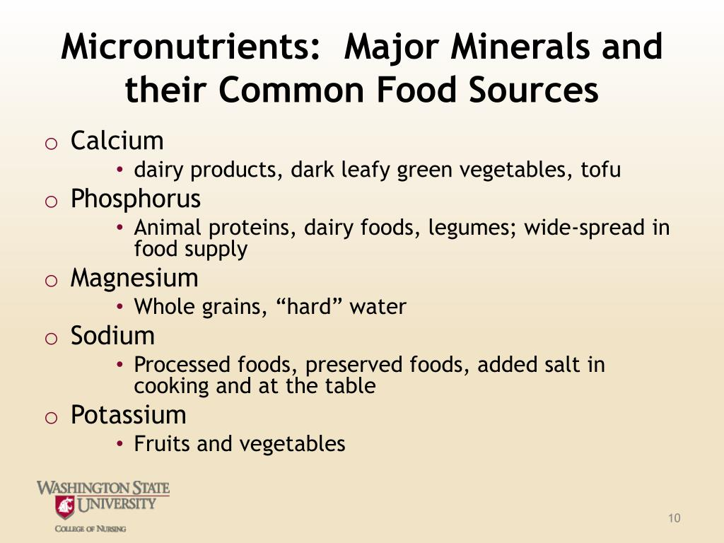 Micronutrients:  Major Minerals and their Common Food Sources